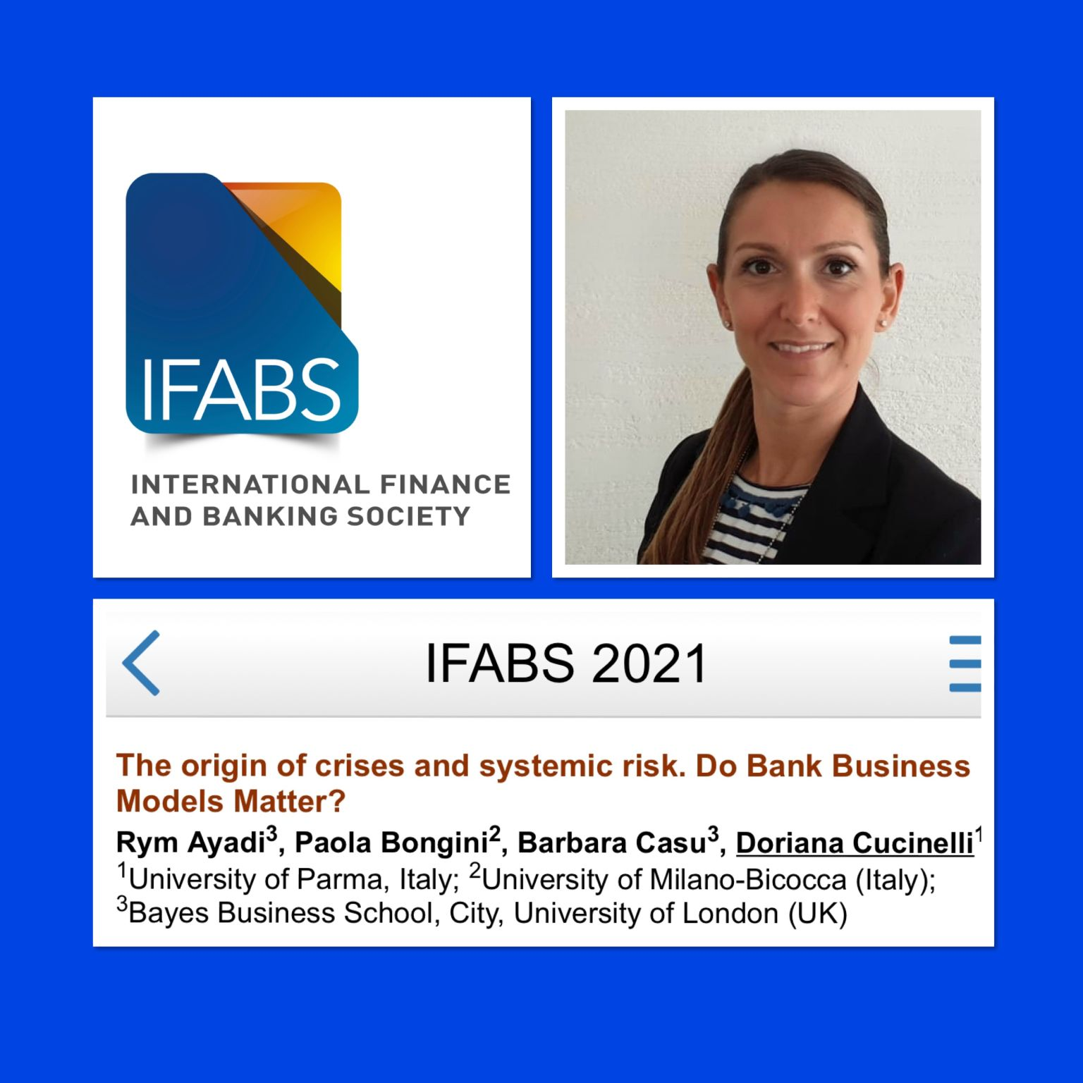 EMEA Research Fellow Doriana Cucinelli presents paper on Bank Business Models at the IFABS 2021 Oxford Conference