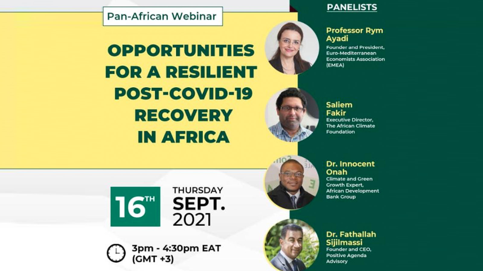 EMEA President Prof. Rym Ayadi highlights the importance of green recovery interventions at the event for the launch of the Pan-African post-COVID-19 recovery report