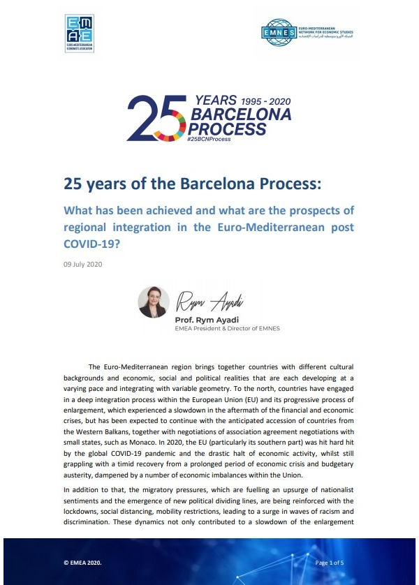 25 years of the Barcelona Process: What has been achieved and what are the prospects of regional integration in the Euro-Mediterranean post COVID-19?