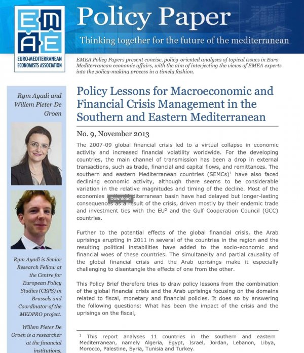Policy Lessons for Macroeconomic and Financial Crisis Management in the Southern and Eastern Mediterranean