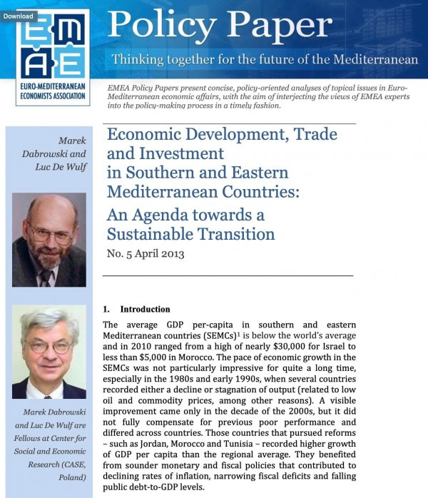 Economic Development, Trade and Investment in Southern and Eastern Mediterranean Countries: An Agenda towards a Sustainable Transition