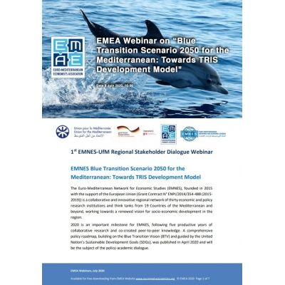 "EMEA, EMNES, UfM & GIZ webinar: ""The Blue Transition Scenario 2050 for the Mediterranean"" - 8 July 2020"