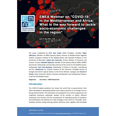 "EMEA webinar report: ""COVID-19 in the Mediterranean and Africa"" - 07 May 2020"