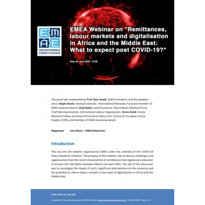 "EMEA webinar report: ""Remittances, labour markets and digitalisation in Africa and Middle East: What to expect post COVID-19"" - 2 July 2020"