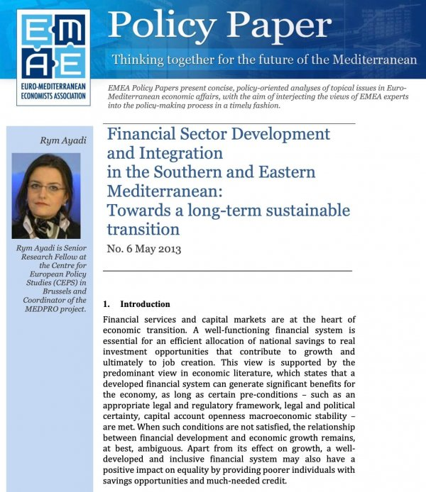 Financial Sector Development And Integration In The Southern And Eastern Mediterranean: Towards A Long-term Sustainable Transition