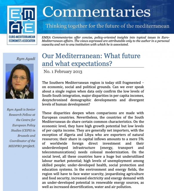 Our Mediterranean: What Future and What Expectations?