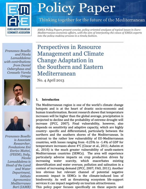 Perspectives in Resource Management and Climate Change Adaptation in the Southern and Eastern Mediterranean Countries (SEMC)