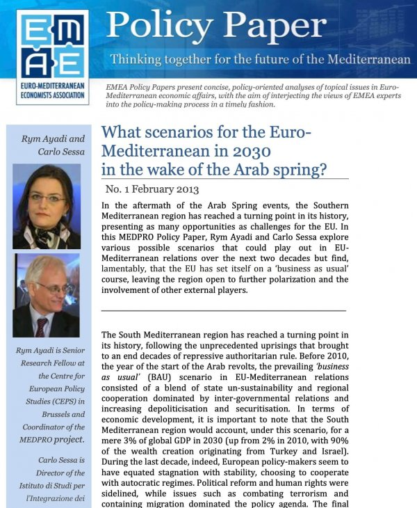 What scenarios for the Euro-Mediterranean in 2030 in the wake of the Arab Spring?