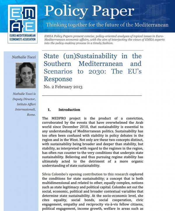 State (un)Sustainability in the Southern Mediterranean and Scenarios to 2030: The EU's Response
